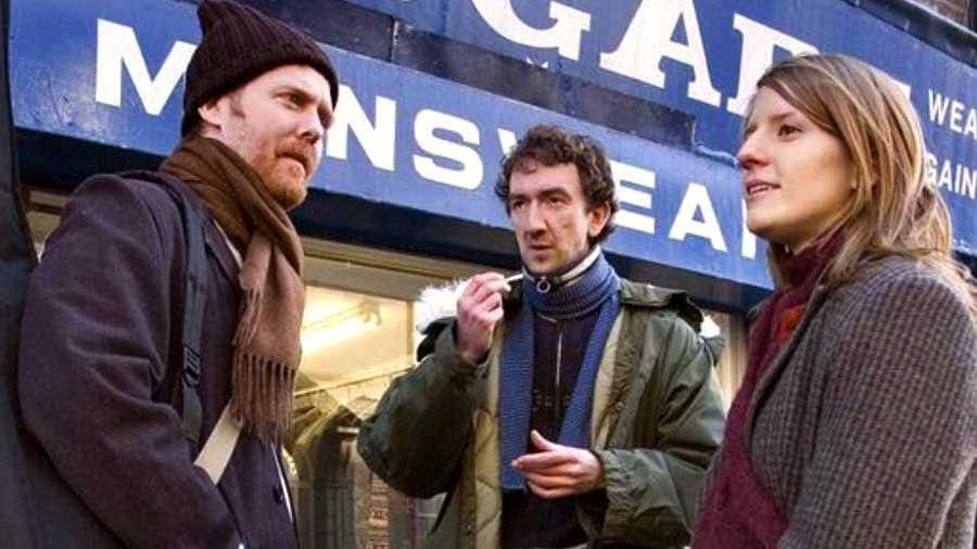 El director John Carney (al centro) durante el rodaje de «Once».
