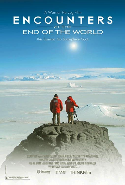 """Afiche de """"Encuentros en el fin del mundo"""" de Werner Herzog"""